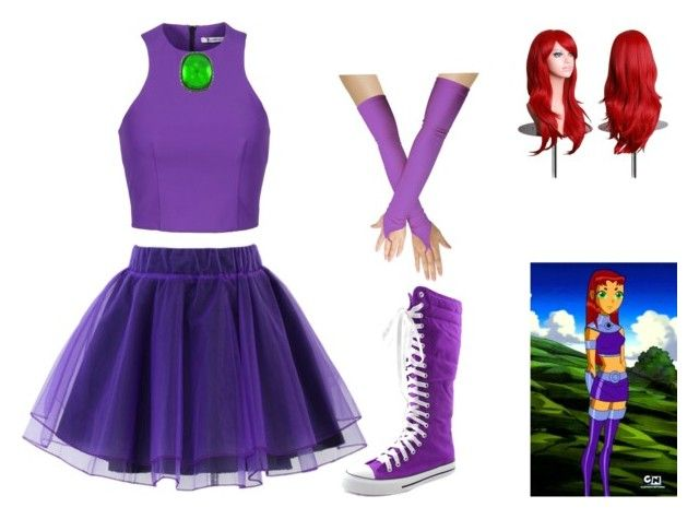 """Starfire casual cosplay"" by cloudysky321 on Polyvore featuring T By Alexander Wang, Chicwish and Kenneth Jay Lane"