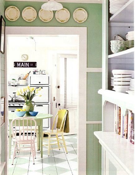 Retro Cottage Kitchen. Green and white color scheme. Green ...