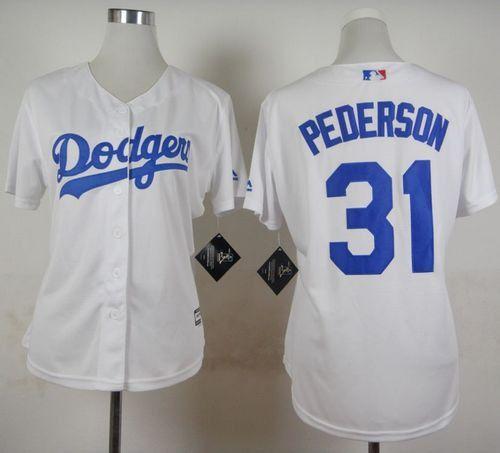 women los angeles dodgers 31 joc pederson white home stitched baseball jersey
