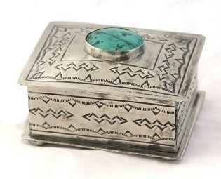 Navajo Style Stamped Box | Southwestern Silver Box | Rustic Jewelry Box | Anteks Home Furnishings