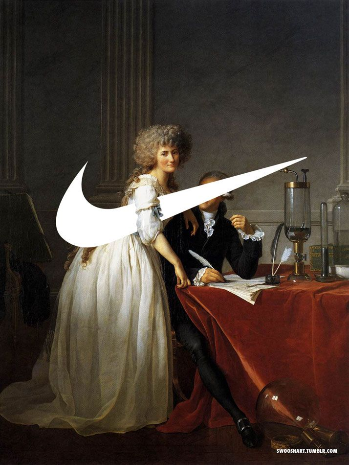 Nike's Swoosh Invades The Elevated Realm Of 18th & 19th Century Paintings / http://www.yatzer.com/davide-bedoni-swoosh-art / Swoosh on the Portrait of M. and Mme Lavoisier (1788) by Jacques-Louis David (1748-1825). photo © Davide Bedoni