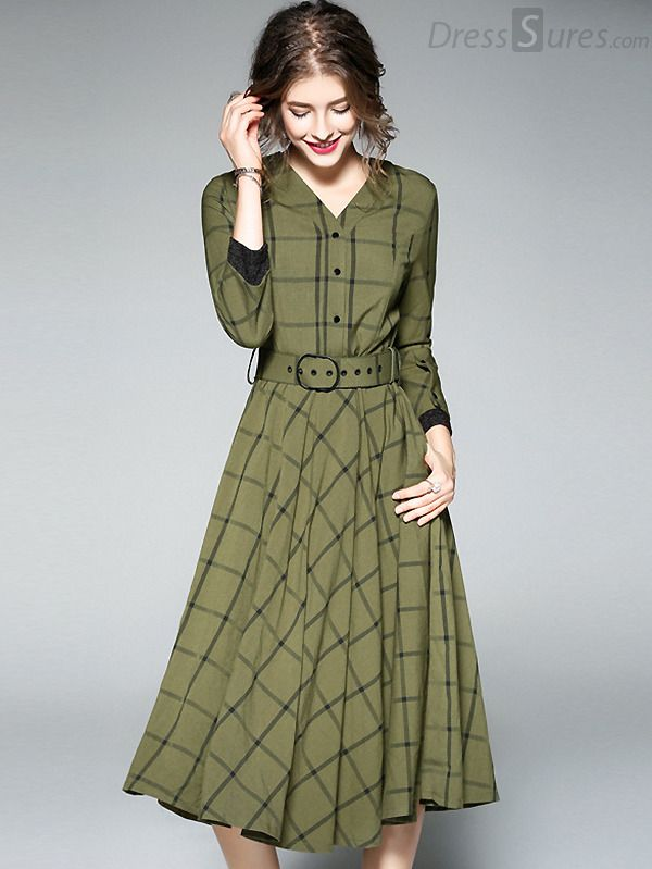 Buy Elegant Long Sleeve Grid Print Skater Dress at DressSure.com Color:Green; Size:M, L, XL; Material:Polyester, Cotton; Style:Casual; Silhouette:A-Line Dresses; Dresses Length:Mid-Calf; Sleeve Length:Long Sleeve; Neckline:V-Neck; Waistline:Empire; Decoration:Sashes; Pattern Type:Plaid; Characteristics:None; Season:Fall; Price: US$ 64.99