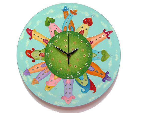 Fairy-Tale City Wall Clock, Kids clock, Boys clock, Silent, Large wall clock