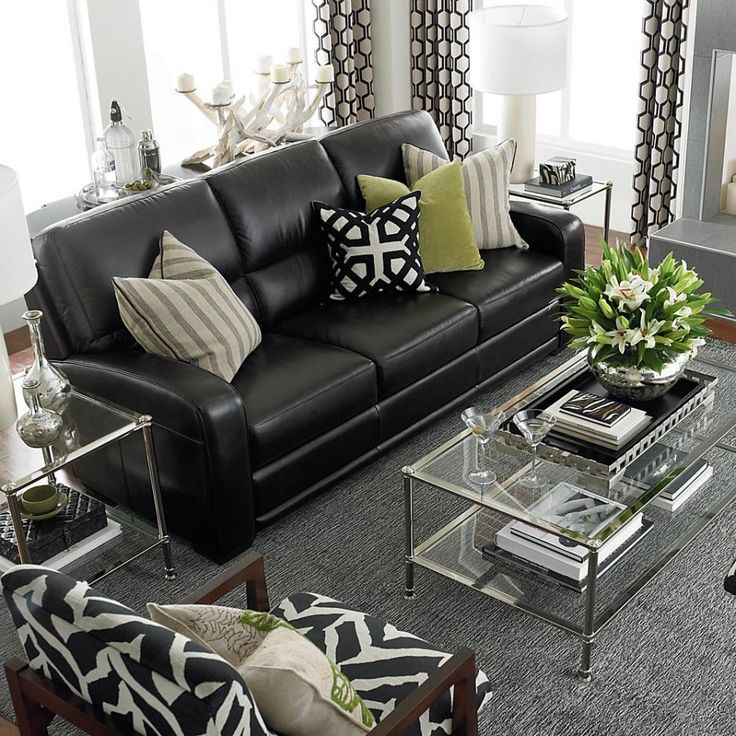 decorating ideas for living room with black leather sofa - Google Search