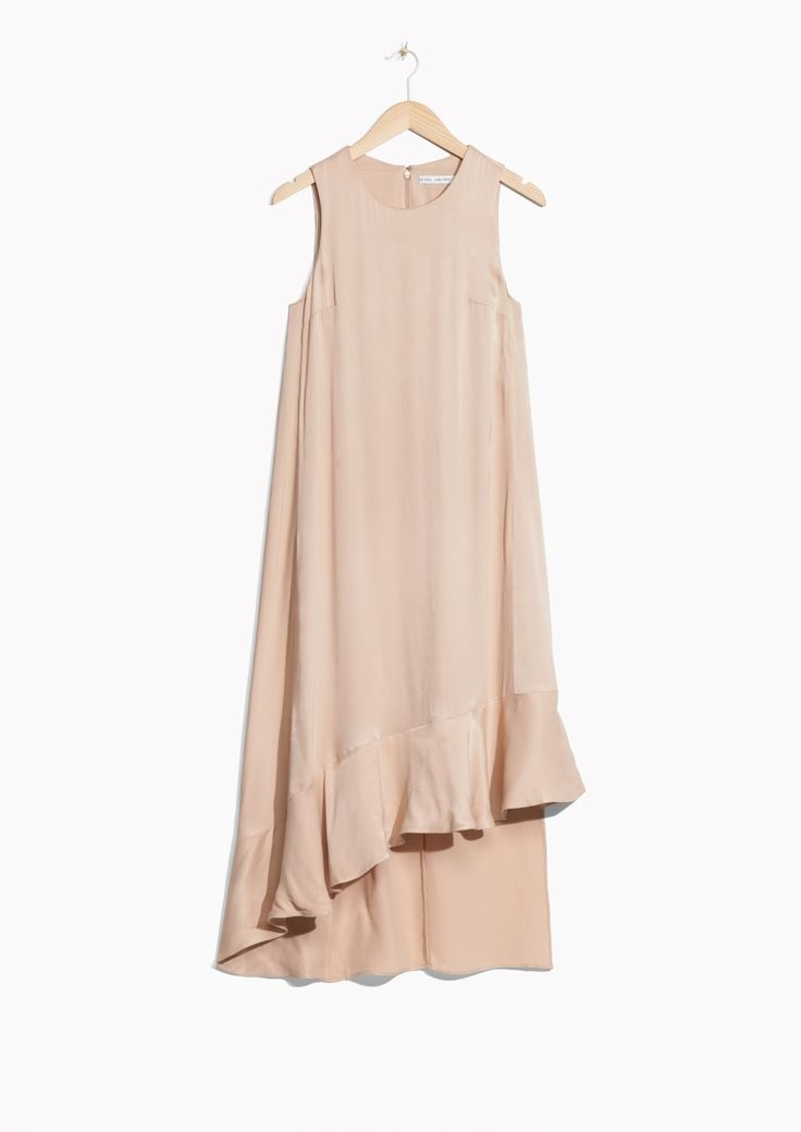 & Other Stories image 1 of Lustrous Frilled Dress  in Beige Light