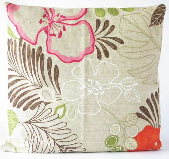 PILLOW CUSHION COVERS  Bright Flower Design by HandmadeVintageRose