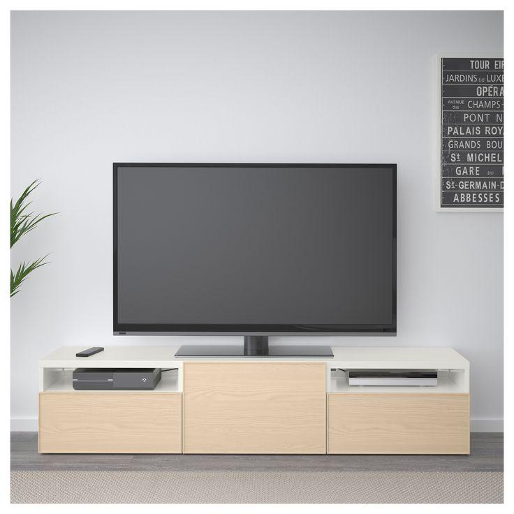 IKEA - BESTÅ TV bench white, Inviken ash veneer