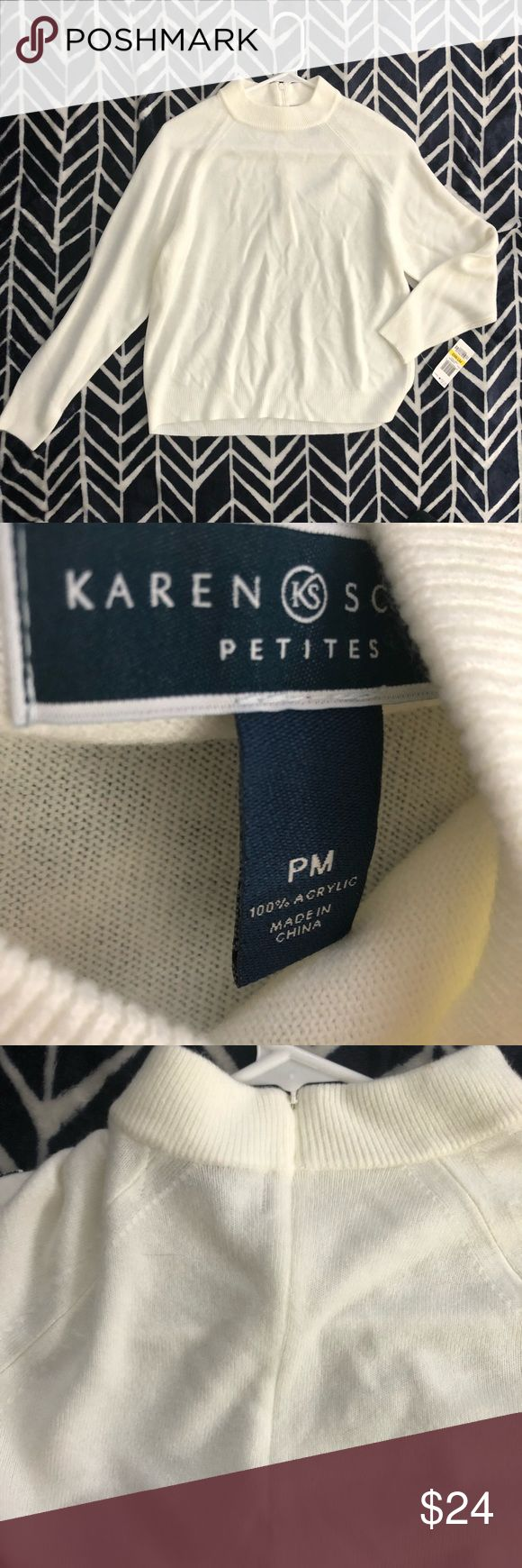 """White Karen Scott sweater Woman's size petite medium white Karen Scott sweater. Zips up in back. New with tag. The chest measures 20"""" flat across, the underarm sleeve length is 16"""" and this is 21"""" long from the tag. Karen Scott Sweaters"""