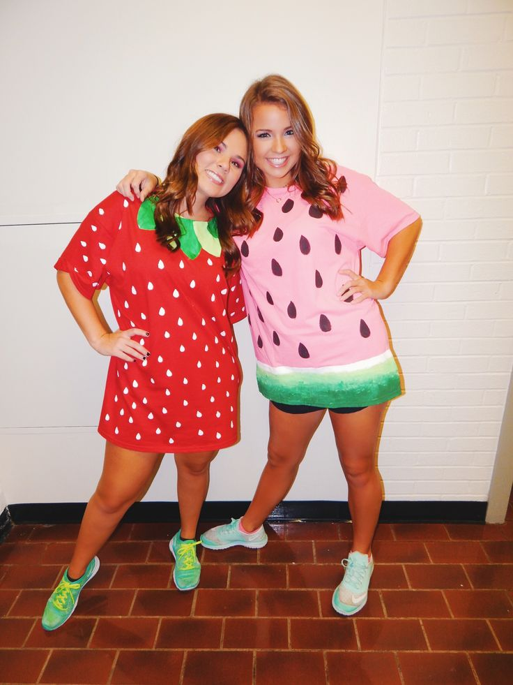 DIY strawberry and watermelon halloween costumes!!