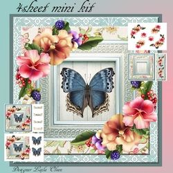 Pansies and Blue Butterfly on Craftsuprint - View Now!