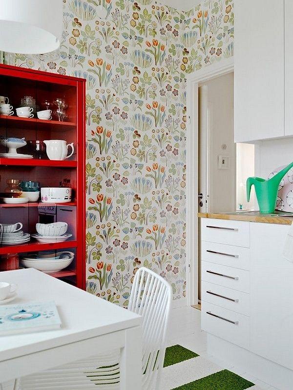 Scandinavian wallpaper .. love this room in general.