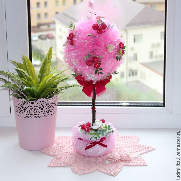 """Купить Топиарий """"Морозная ягода"""", дерево счастья - топиарий, топиарий дерево счастья, европейское дерево"""