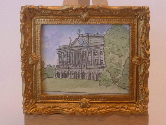A framed, miniature original ink and watercolour painting of Lyme Park, Cheshire, England.  It measures 7.5cm x 6.5cm (3x 2.5).  I have used