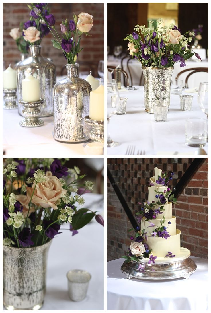 Shustoke Farm Barns Wedding Flowers ~ Mercury Silver and Purple