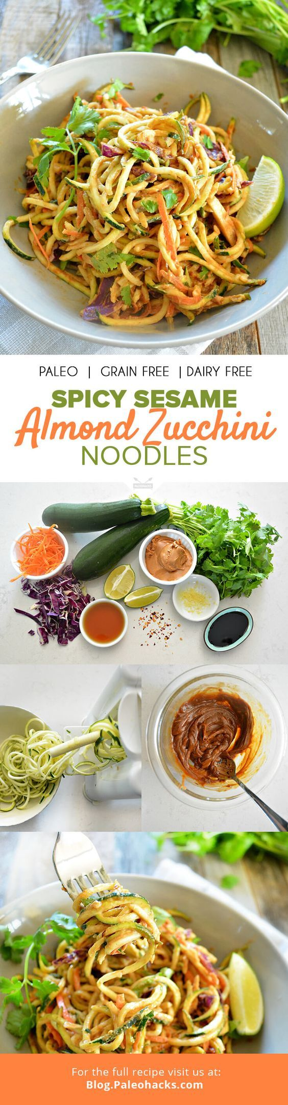 On a warm day, few dishes satisfy like a chilled, nutty noodle salad. These almond zucchini noodles are smothered in a creamy sesame sauce for the perfect Paleo takeout replacement. For the full recipe visit us here: http://paleo.co/sesamealmondzoodles