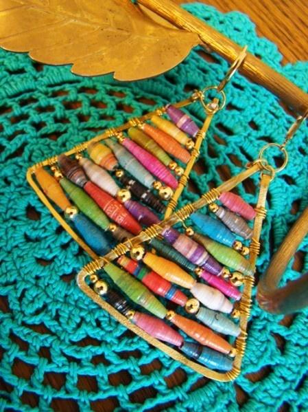 Xyi_1linkurgkdiamtbc_zrvrs3: Bead Earrings, Jewelry Tutorials, Beads Earrings, Paper Earrings, Rolls Paper, Fabrics Beads, Earrings Tutorials, Christmas Trees, Paper Beads