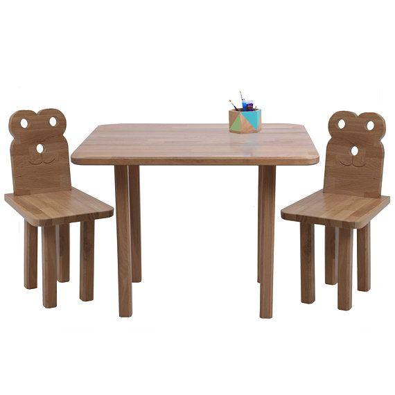 Woodland Table And Chairs Set Woodland Nursery Wood Furniture Oak Table Woodland Art Decor Furniture Kids Childrens Ch Wooden Table Chairs Kids Table Chairs Kids Furniture