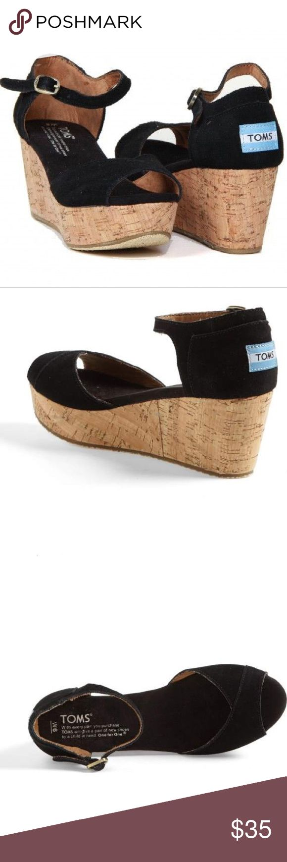 """Toms Suede Platform Wedge Sandals in Black Cute black suede platform wedges from Toms. Good condition and only worn a few times.   Suede upper and liner Cork wrapped heel with one small flaw in the back of the left shoe.  Heel height is approximately 2 1/2"""" Original box, Toms flag, and Toms sticker included. Toms Shoes Wedges"""