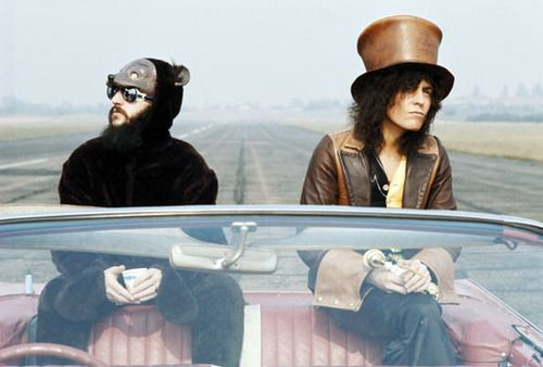 Ringo Starr and Marc Bolan 1972.Bang A Gong. Love the outfits.