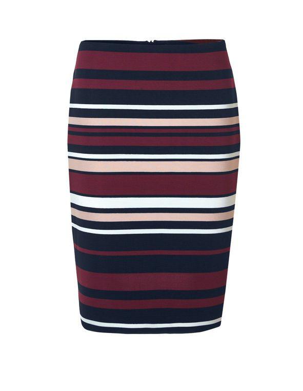 Claret Stripe Pencil Skirt, Navy/Ivory/Claret/Dusty Pink