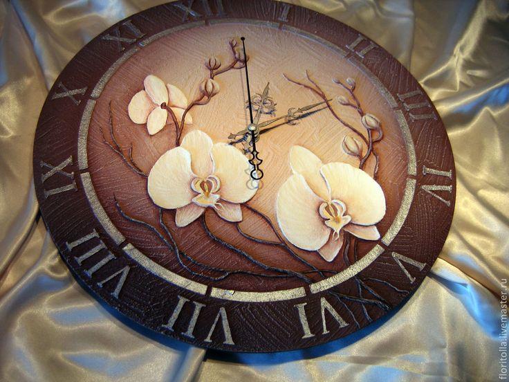 """Купить """"Белые орхидеи"""" часы-фреска объемные резерв для Анны - бежевый, объемная картина"""