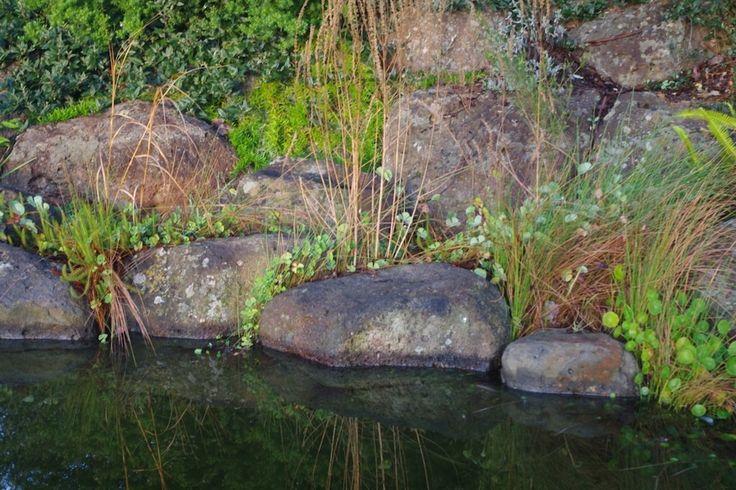 Naturalistic basalt boulder retaining, Autumn 2014