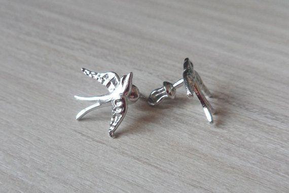 Silver Stud Bird Earrings Bird Earrings Bird by RedSilverStudio