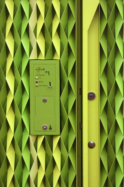 Public Toilet Enclosure Built Out of Laser Cut Aluminum Strips