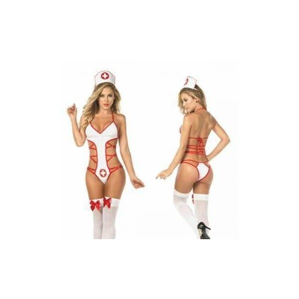 Women Sexy V-Neck Sleeveless Nurse Teddies Hollow Out Costumes Temptat ($8.79) ❤ liked on Polyvore featuring costumes, sexy lingerie, white, nurse costume, sexy halloween costumes, womens halloween costumes, sexy nurse costume and ladies halloween costumes
