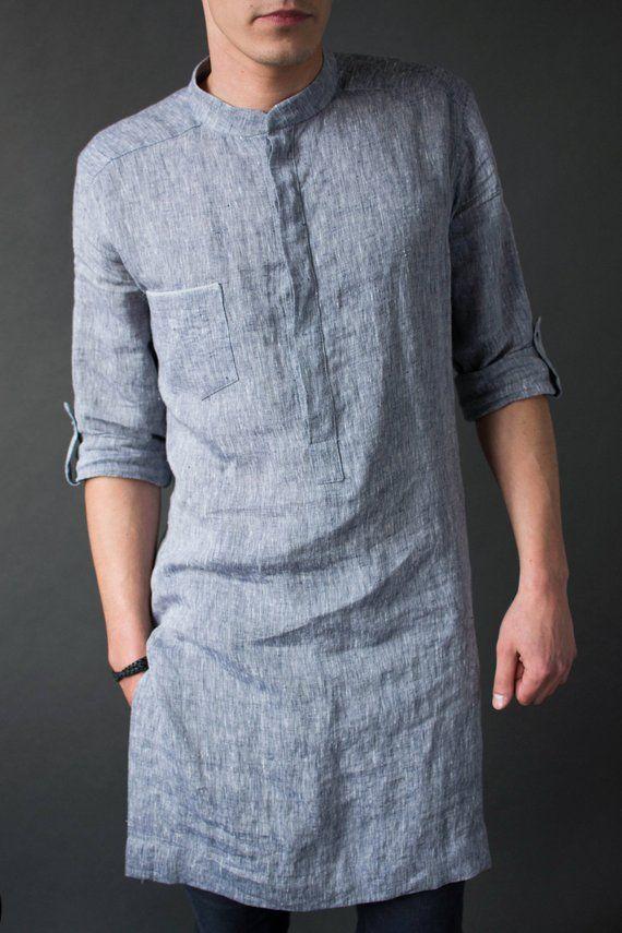 Mens linen tunic   Long linen shirt   Kaftan men   Mock neck tunic ... 320e95db7