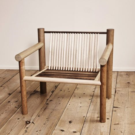 designer Max Lamb has created a series of furniture made entirely from standard wooden dowels.