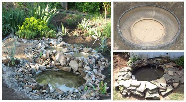 Make a Backyard Pond With Tires - http://www.diyscoop.com/make-a-backyard-pond-with-tires/