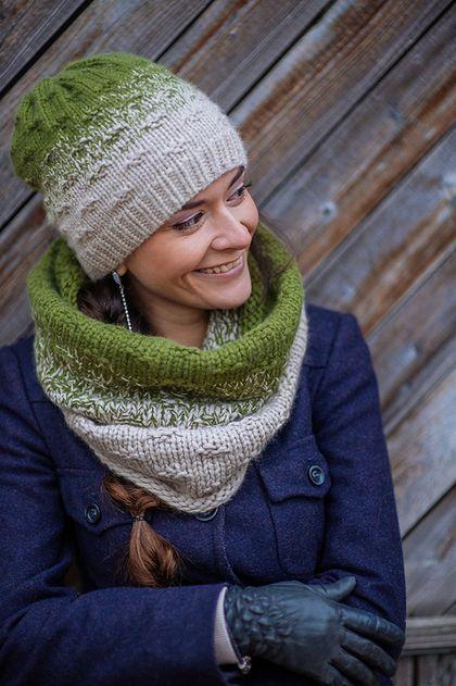 Шарф снуд и шапка вязаные «Оливковая роща», комплект вязанный - комплект шапка и шарф