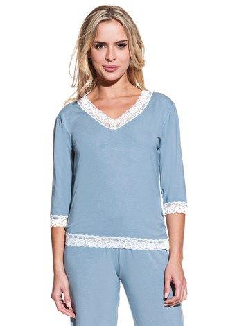 Dámské bambusové pyžamo ROZALIE. Co říkáte na novou modrošedou barvu nejoblíbenějšího pyžámka našich zákazníků?