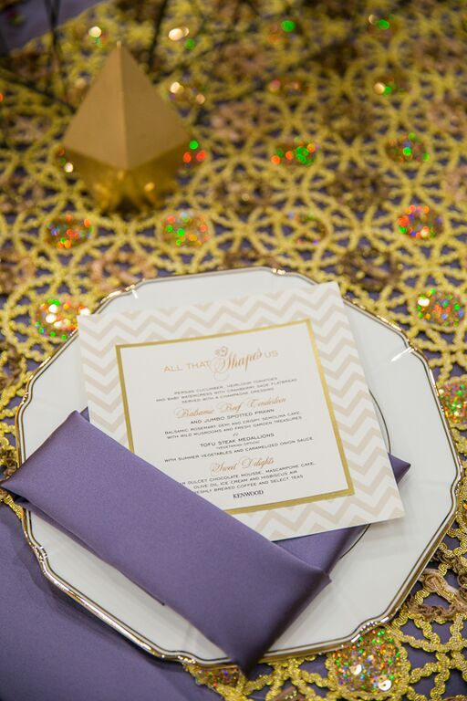 The Victorian Lilac purple Lamour is the perfect touch of color against the Embelished Gold Metallic Lace
