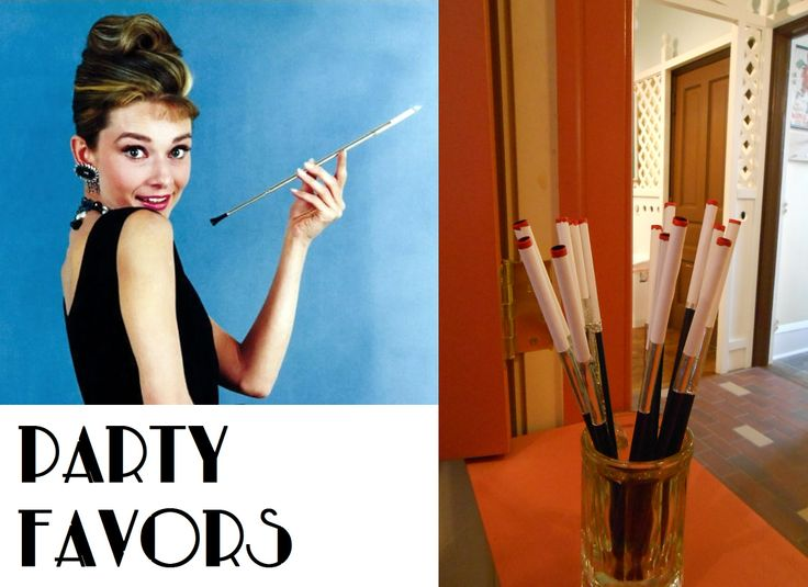 """To make this inexpensive cigarette holder party favor start with a long, thick straw. A 10inch straw for shakes was used here. Wrap one end in regular printer paper cut to the length of a cigarette, two or three inches. A stick of glue was perfect to adhere to the straw. Next cut a small band of aluminum duct tape, available at hardware stores, and wrap around the straw and paper connection. As a final step you can dip or paint the ends in red paint for a """"lit"""" cigarette look!"""