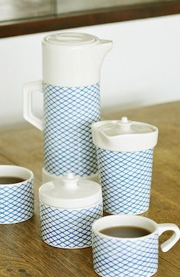 Yoyo ceramics. bracingly blue, and full of hot coffee, this set would lend elegance to a windy beach-side winter picnic.