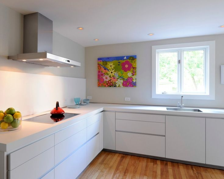 white kitchen wooden floor modern design beautiful painting white ceiling electric stove minimalist kitchen of White Kitchen Designs to Get Inspirations From