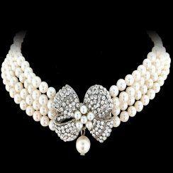 Stunning - Vintage Bow Necklace Set - We love this! £46.99 www.calmweddings.com