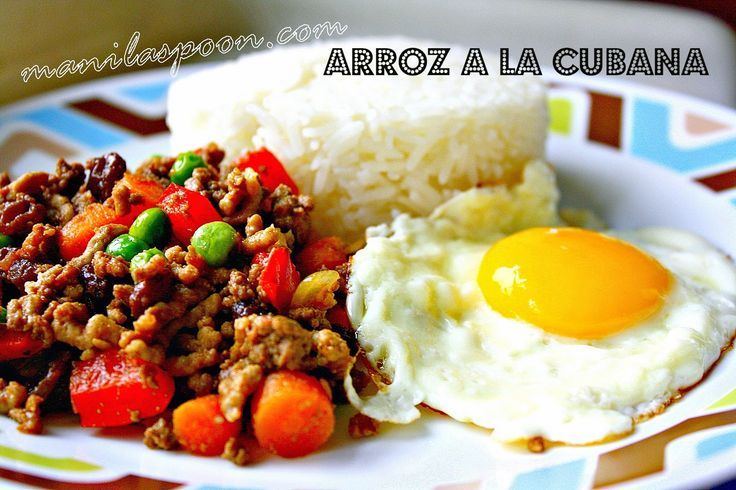 Arroz a la Cubana (Cuban Style Rice): Arroz a la Cubana is a dish that you're always sure to find in any mall in the Philippines with a cafeteria. It's a classic comfort food which came by way of Spain (who colonized the Philippines for almost 400 years!). The Philippine version typically consists of rice, ground beef sauteed with onions, garlic, tomatoes, diced potatoes and diced carrots, a fried egg and plantains cut lengthwise and fried.