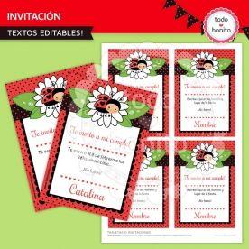 Ladybug rojo: invitación para imprimir