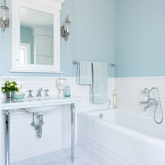 25 best light blue bathrooms trending ideas on pinterest for Blue white bathroom ideas
