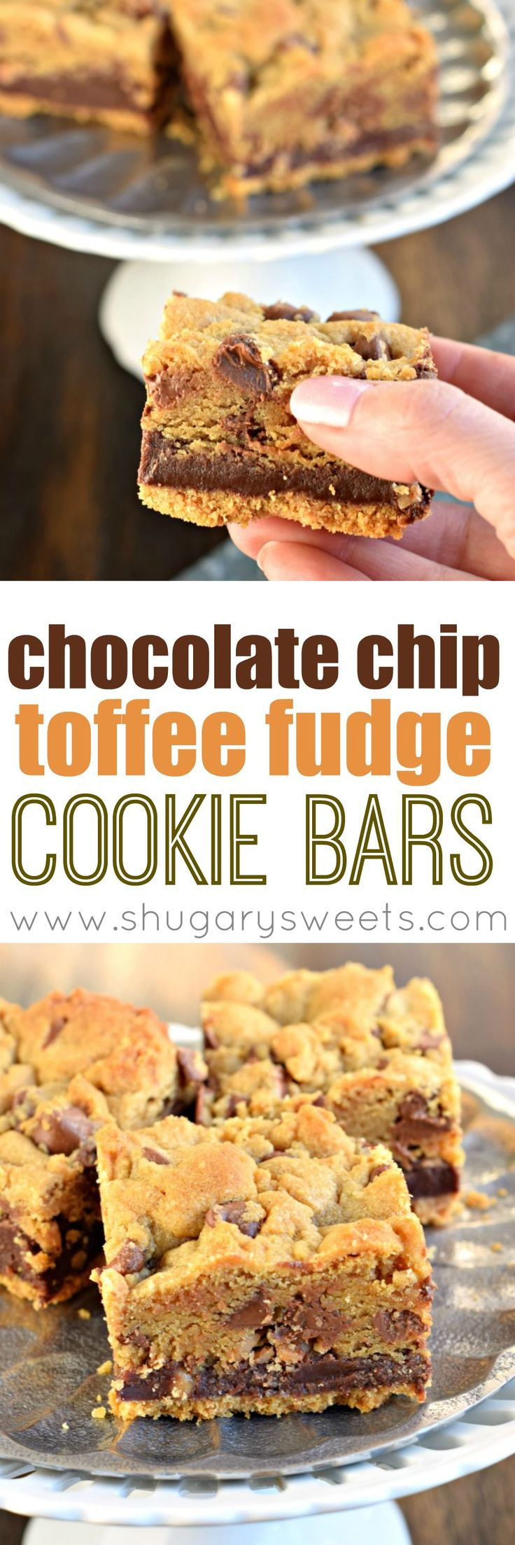 Chocolate Chip Toffee Fudge Cookie Bars with a graham cracker crust and a layer of toffee fudge! One decadent dessert recipe.