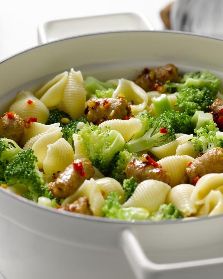 Pastaschelpen met worst en broccoli #15gram