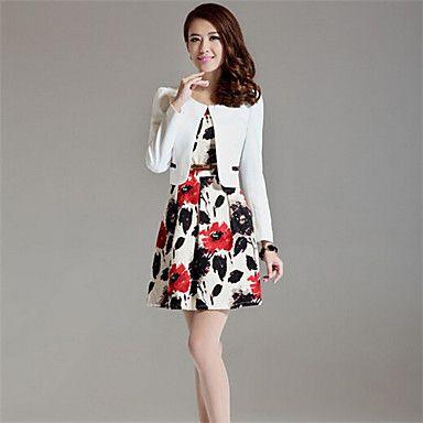vrouwen bloem afdrukken vest slanke jurken (blazer&jurk) - EUR € 29.99