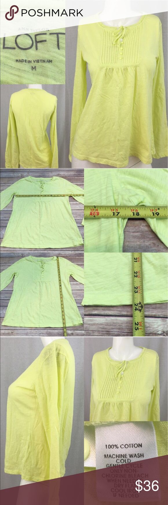 🌈Sz Medium Ann Taylor LOFT Yellow Long Sleeve Top Measurements are in photos. Normal wash wear, no flaws. B2  I do not comment to my buyers after purchases, due to their privacy. If you would like any reassurance after your purchase that I did receive your order, please feel free to comment on the listing and I will promptly respond.   I ship everyday and I always package safely. Thank you for shopping my closet! LOFT Tops