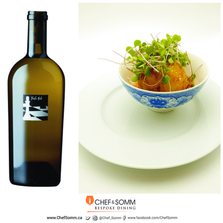 Check Mate Winery Fools' Mate Chardonnay paired with Confit de Canard Stuffed Arancini with heirloom tomato consommé and daikon micro greens More information on this pairing on our FB and IG pages