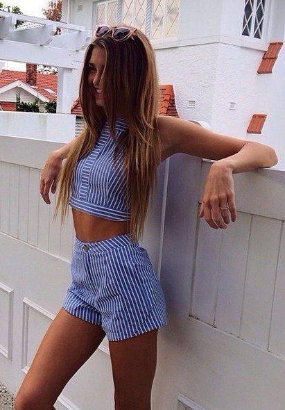 #summer #fashion / striped crop top + shorts