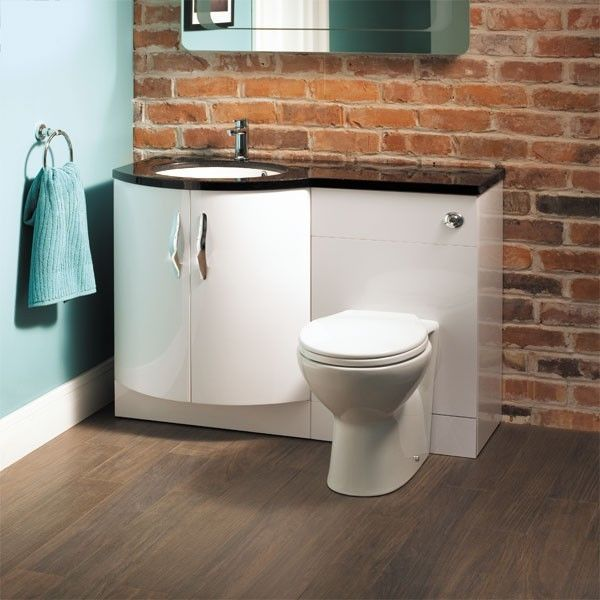 Black Bow Front Left Hand Basin Sink Combination Unit With Toilet and Cistern in Home, Furniture & DIY, Bath, Bathroom Suites | eBay!