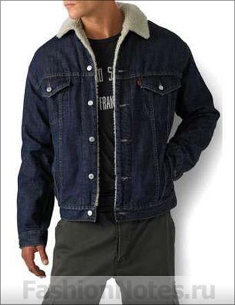 Утепленная стильная черная джинсовая куртка